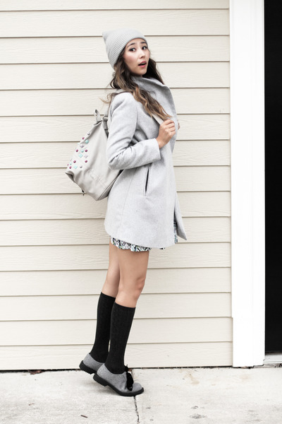 silver asos boots - heather gray Nasty Gal bag