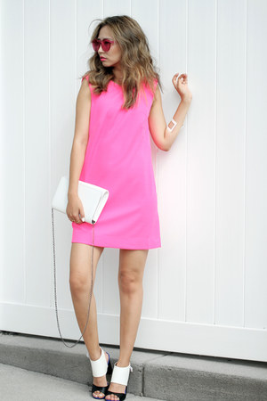 hot pink IfChic dress - bubble gum Polette sunglasses - white Missguided sandals