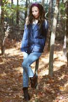 brick red Shellys London boots - navy Celebrityfashionlookbook jacket