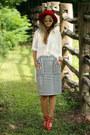 Red-oasap-hat-white-blackfive-skirt-white-haute-rogue-blouse