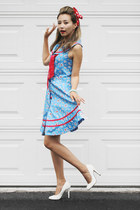sky blue voodoo vixen dress - red Trendhood hair accessory