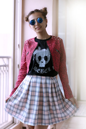 hot pink kpopsicle jacket - black CGBCN shirt - bubble gum Boohoo skirt
