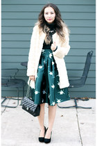 teal Chicwish skirt - peach Chicwish coat - teal Bloomingale sweater