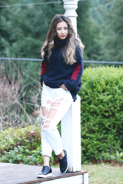 navy blackfive sweater - navy Shellys London shoes