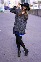 black knit Forever 21 sweater - blue Forever 21 skirt