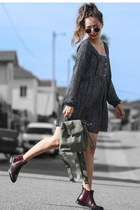 crimson JUCH boots - black MinkPink dress - green Violet Ray bag