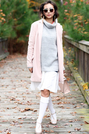 light pink Sheinside coat - white Frontrowshop dress - silver Forever 21 sweater