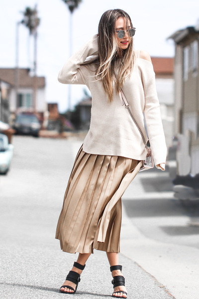 neutral Neiman Markus sweater - bronze Valentino skirt - black BNKR sandals