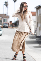 neutral Neiman Markus sweater - bronze Valentino skirt - black BNKR sandals