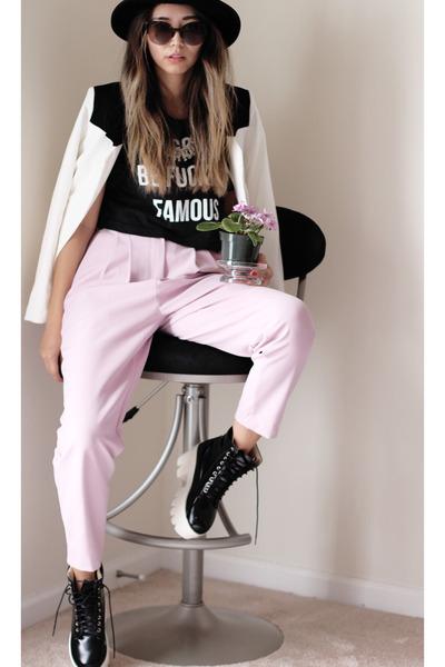 white Brenda Shop blazer - bubble gum Stylenanda pants - black Gold Haze top