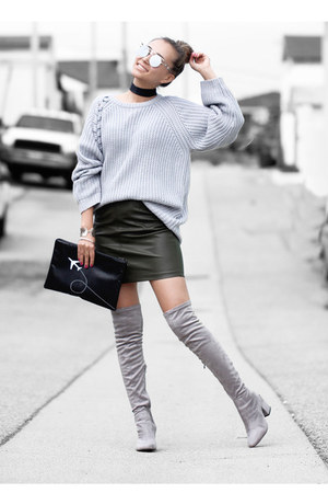 silver Public desire boots - heather gray Zady sweater - black H&M scarf