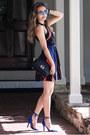 Blue-lulus-dress-black-poupee-de-papier-bag-blue-aquazzura-heels
