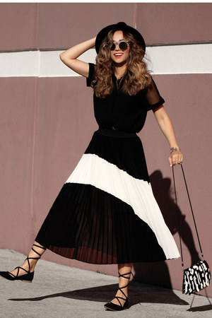 black Toulula skirt - black style moi shirt - black Lulus flats