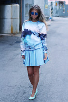 sky blue printed Choies sweater