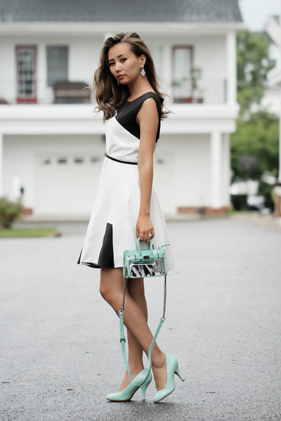 aquamarine IfChic bag - white Chicwish dress - aquamarine Zappos sandals
