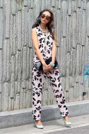 light pink printed blackfive top - light pink printed blackfive pants