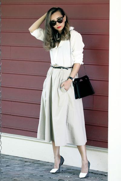 cream Tannerann skirt - white Megz Fashion blouse - gray Shoescom pumps