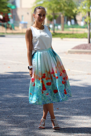 sky blue Chicwish skirt - carrot orange Yesfor bag