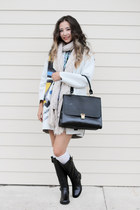 periwinkle blackfive coat - black Macys boots - peach The Limited scarf