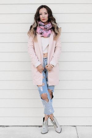 peach Nordstrom sweater - silver Shellys London boots - bubble gum modcloth coat