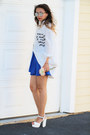 White-printed-oasap-shirt-blue-queenhorsfall-closet-skirt
