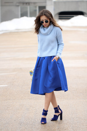 sky blue Forever 21 sweater - blue Sheinside skirt