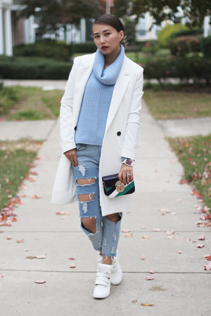 white OASAP sneakers - sky blue blackfive jeans - sky blue Forever 21 sweater