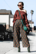 brick red Dezzal pants - forest green Public desire boots - teal Eva Mendes bag