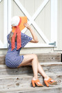 Orange-forever-21-hat-orange-lulus-sandals-navy-sheinside-romper