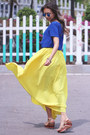 Blue-chiffon-forever-21-shirt-yellow-chain-chicwish-bracelet