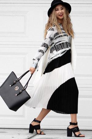 black Forever 21 hat - black cmeo heels - black Kruza skirt