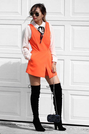 carrot orange N21H romper - black Public desire boots - navy NIna Shoes bag
