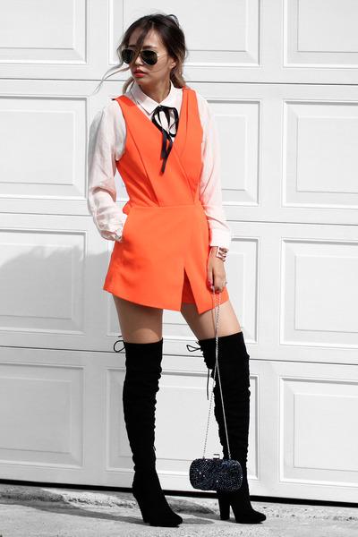 carrot orange N21H romper - black Public desire boots - navy NIna Shoes bag