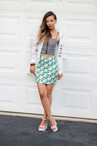 white OASAP shirt - green StyleMoi skirt - bubble gum romwe sandals