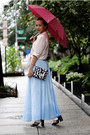 Peach-ann-taylor-blouse-light-blue-dress-link-skirt-black-missguided-sandals