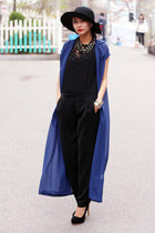 navy chiffon Front Row Shop coat
