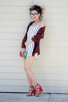 red Lulus bag - brick red Sheinside jacket - white Lulus romper
