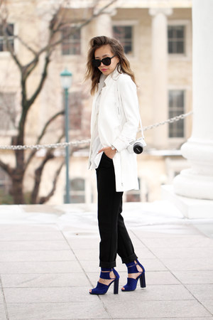 black Forever 21 pants - white Sheinside blazer - blue Tobi sandals