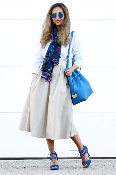 navy Vèvèlle scarf - white Forever 21 shirt - blue Poupee de Papier bag