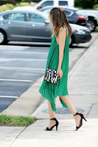 green OASAP dress - black asos bag