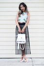 White-romwe-bag-black-kahri-skirt-white-romwe-top