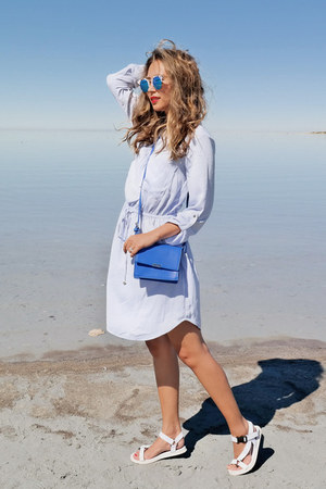 periwinkle Dynamite dress - blue Yesstyle bag - white Universal sandals