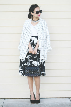 black Sheinside skirt - white Hauterouge coat - black Kristin Perry necklace