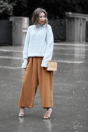 light blue IfChic sweater - brown OASAP bag - tawny Chloe pants