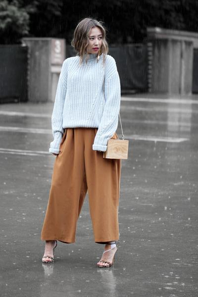 light blue IfChic sweater - brown OASAP bag - tawny Chloe pants