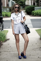 white Micha Store necklace - white style moi shirt - periwinkle style moi shorts