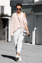 white Sudio accessories - light pink Lulus sweater - light blue sans souci pants