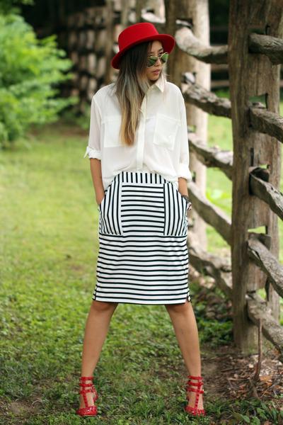 red OASAP hat - white Haute Rogue blouse - white blackfive skirt