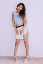 white yesimfrench bag - white yesimfrench shorts - sky blue yesimfrench top