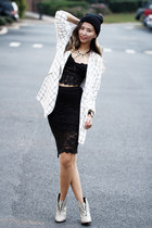 black lace NYCT clothing top - heather gray Shellys London boots